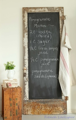 Love this rustic door chalkboard - it would look right at home in ShabbyChic country kitchen! | via http://frenchlarkspur.blogspot.com/2013/01/chippy-white-chalkboard-love-and.html
